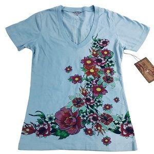 Light Blue Floral V-Neck T-Shirt